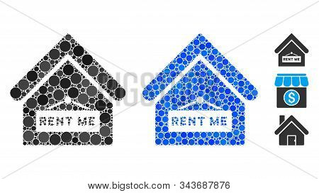 Rent Me Mosaic Of Filled Circles In Different Sizes And Color Tinges, Based On Rent Me Icon. Vector