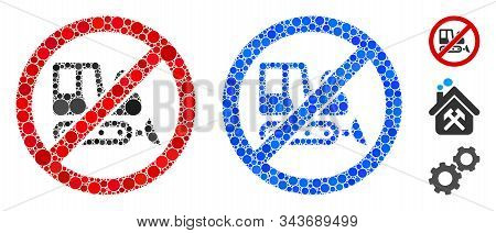 No Bulldozer Mosaic Of Small Circles In Variable Sizes And Color Tones, Based On No Bulldozer Icon.