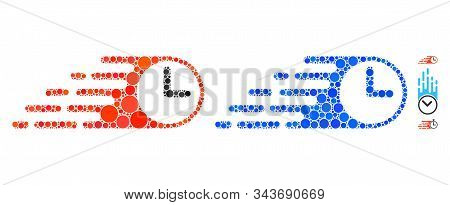 Rush Clock Mosaic Of Small Circles In Different Sizes And Shades, Based On Rush Clock Icon. Vector S