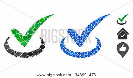 True Mosaic Of Circle Elements In Various Sizes And Color Tones, Based On True Icon. Vector Circle E
