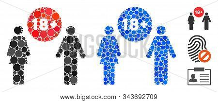 For Adults Composition Of Spheric Dots In Various Sizes And Color Tones, Based On For Adults Icon. V