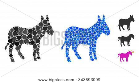 Donkey Mosaic Of Filled Circles In Different Sizes And Color Tones, Based On Donkey Icon. Vector Sma