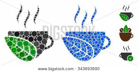 Organic Coffee Cup Mosaic Of Round Dots In Various Sizes And Color Tints, Based On Organic Coffee Cu