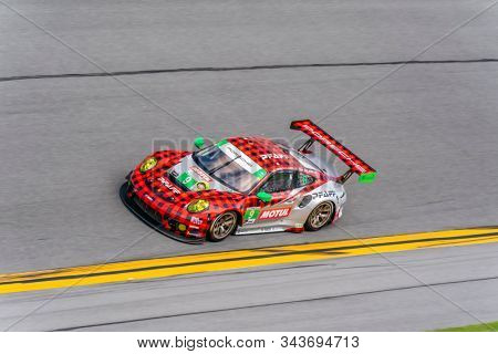 January 03, 2020 - Daytona Beach, Florida, USA: The Pfaff Motorsports Porsche 911 GT3 R car practice for the Roar Before The Rolex 24 at Daytona International Speedway in Daytona Beach, Florida.