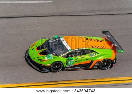 January 03, 2020 - Daytona Beach, Florida, USA: The GRT Grasser Racing Team Lamborghini Huracan GT3 car  practice for the Roar Before The Rolex 24 at Daytona International Speedway