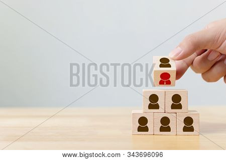 Human Resource Management And Recruitment Business Concept, Hand Flip Over Wood Cube Block On Top Py
