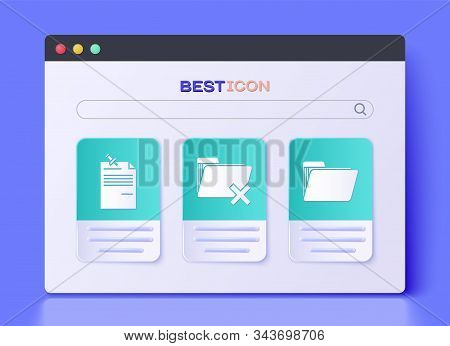 Set Delete Folder, Note Paper With Pinned Pushbutton And Document Folder Icon. Vector