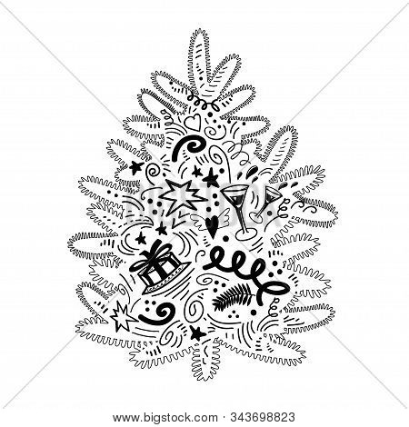 Ute Christmas Tree. Black Contoured Silhouette In Doodle Style Isolated On White. Stylized Vector El