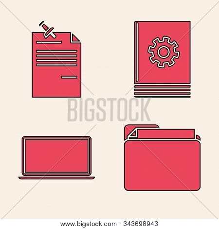 Set Document Folder, Note Paper With Pinned Pushbutton, User Manual And Laptop Icon. Vector