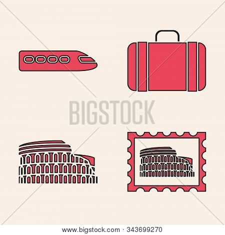 Set Postal Stamp And Coliseum, Train, Suitcase For Travel And Coliseum In Rome, Italy Icon. Vector