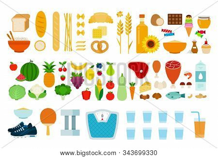 Protein, Carbohydrate Products, Vegetables, Fruits, Products Containing Sugar And Sports Accessories