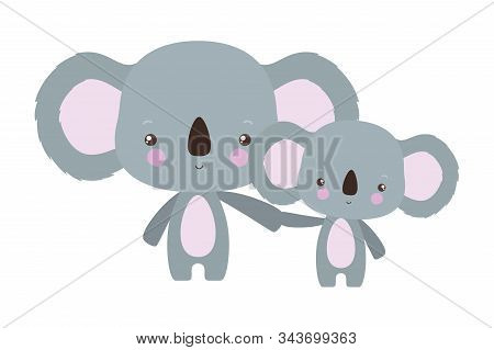 Cute Koala Cartoon Mother And Baby Design, Animal Zoo Life Nature Character Childhood And Adorable T