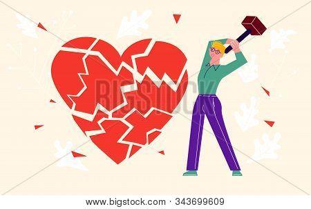 Metaphor Of Betrayal, Unhappy Love And Broken Heart. Boy By Hammer Breaks The Heart Into Splinters.