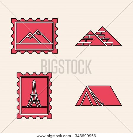 Set Tourist Tent, Postal Stamp And Mountains, Egypt Pyramids And Postal Stamp And Eiffel Tower Icon.