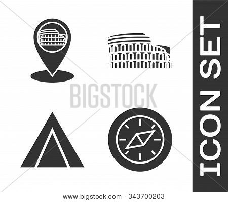 Set Compass, Map Pointer With Coliseum In Rome, Italy, Tourist Tent And Coliseum In Rome, Italy Icon