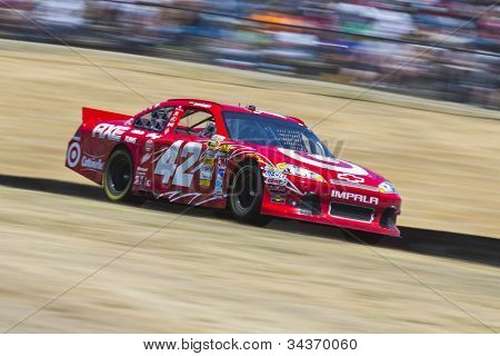 SONOMA, CA - JUN 24, 2012:  Juan Pablo Montoya (42) brings his car through the turns during the Toyota Save Mart 350 at the Raceway at Sonoma in Sonoma, CA on June 24, 2012..