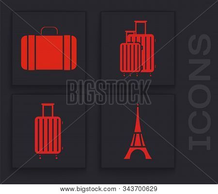 Set Eiffel Tower, Suitcase For Travel, Suitcase For Travel And Suitcase For Travel Icon. Vector