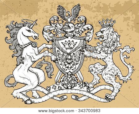 Heraldic Emblem With Unicorn And Fairy Lion Beast On Texture Background. Hand Drawn Engraved Illustr