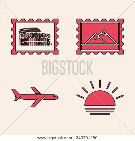 Set Sunset, Postal Stamp And Coliseum, Postal Stamp And Mountains And Plane Icon. Vector