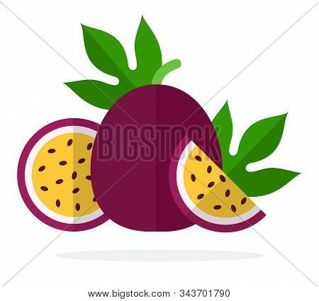 A Whole Fruit Passion Fruit, Half Passion Fruit And A Piece Of Passion Fruit Flat Isolated