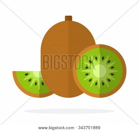 Fruit Of Kiwi, Half Of Kiwi And Wedge Of Kiwi Flat Isolated