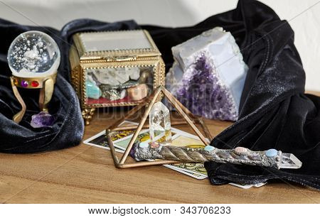 Crystal Healing Tools Including Healing Wand, Quartz Crystal Point, Tarot Cards, Crystal Ball And Am