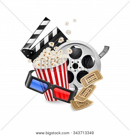 Movie Clapper Board, Cinema Vintage Ticket, Popcorn In The Striped Bag, Film Reel And 3d Glasses Ove