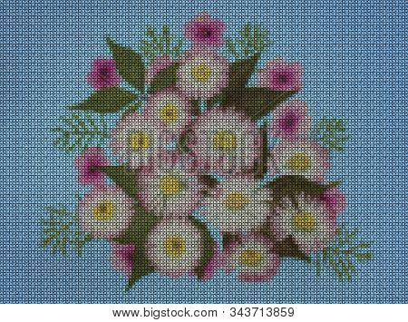 Illustration. Cross-stitch Bouquet Of Flowers. Daisy, Marguerite. Floral Background, Collage.  Flowe
