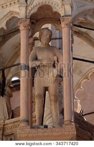 VERONA, ITALY - MAY 27: Scaliger tombs, a group of five funerary monuments celebrating the Scaliger family in Verona, Italy, on May 27, 2017.