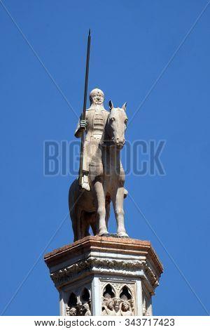 VERONA, ITALY - MAY 27: Equestrian statue of Cansignorio della Scala, Tomb of Cansignorio della Scala, work by Bonino da Campione, Scaliger Tombs in Verona, Italy, on May 27, 2017.