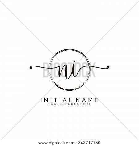 Ni Initial Handwriting Logo With Circle Template Vector.