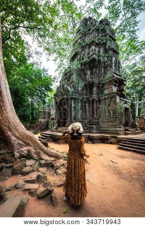 Ta Prohm Temple In Angkor Wat Is A Public Place In Siem Reap, Cambodia. It Is A Beautiful Ancient Ar