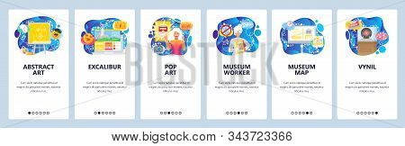 Modern Art Museum, Popart, History Exhibition. Mobile App Onboarding Screens. Menu Vector Banner Tem