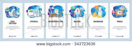 Tattoo Salon Accessories, Table, Razor, Tattoo Coil, Stencil. Mobile App Onboarding Screens. Menu Ve