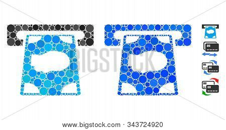 Cashpoint Composition Of Round Dots In Various Sizes And Color Hues, Based On Cashpoint Icon. Vector