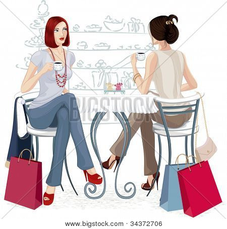Two girls sitting with cups of coffee at the table isolated over white background. All objects are grouped.