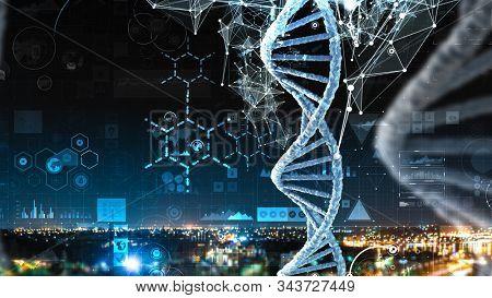 Biotechnology digital background . Mixed media