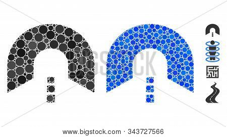 Tunnel Composition Of Round Dots In Variable Sizes And Color Tints, Based On Tunnel Icon. Vector Rou