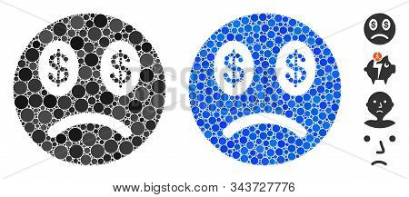 Sad Business Smiley Composition Of Small Circles In Various Sizes And Color Tinges, Based On Sad Bus