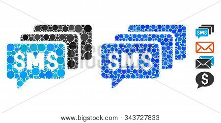 Sms Messages Mosaic Of Small Circles In Various Sizes And Shades, Based On Sms Messages Icon. Vector