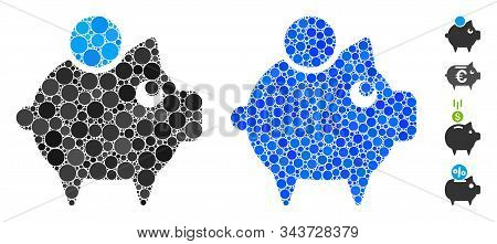 Piggy Bank Composition Of Round Dots In Various Sizes And Color Tints, Based On Piggy Bank Icon. Vec