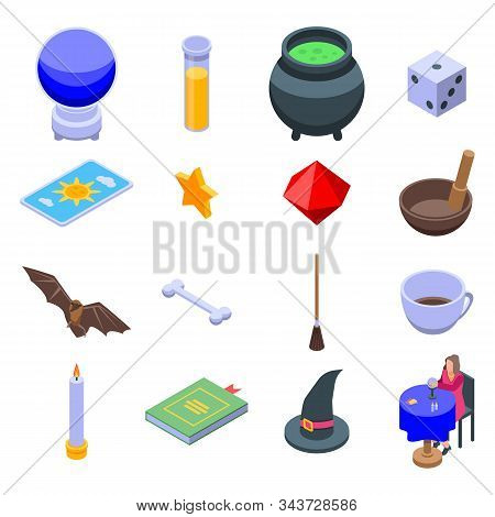 Fortune Teller Icons Set. Isometric Set Of Fortune Teller Vector Icons For Web Design Isolated On Wh
