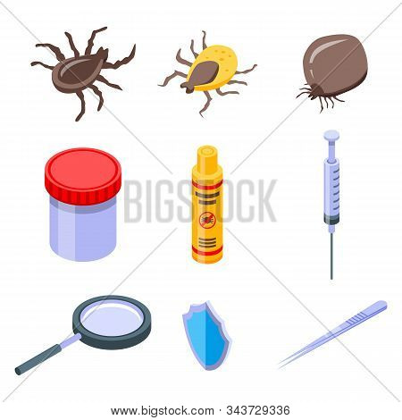 Mite Icons Set. Isometric Set Of Mite Vector Icons For Web Design Isolated On White Background