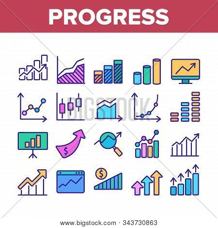 Progress Grow Graphs Collection Icons Set Vector Thin Line. Progress Arrow On Screen Web Site, Magni