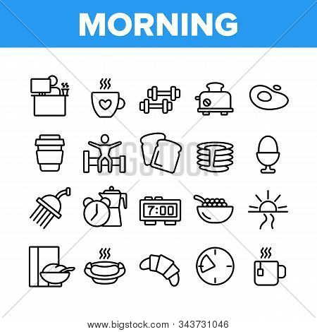 Morning Food And Tools Collection Icons Set Vector Thin Line. Morning Coffee Cup And Breakfast, Douc