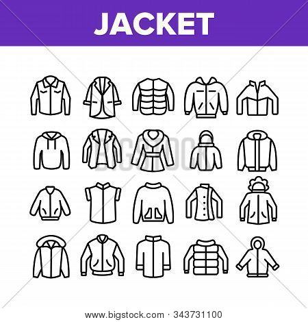 Jacket Fashion Clothes Collection Icons Set Vector Thin Line. Man, Woman And Unisex Jacket, Fashiona