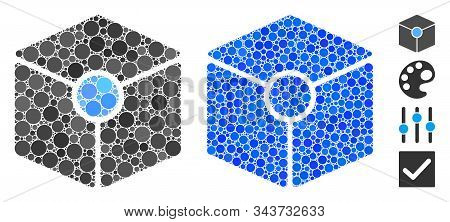 Cube Vertex Mosaic Of Small Circles In Different Sizes And Color Tinges, Based On Cube Vertex Icon.