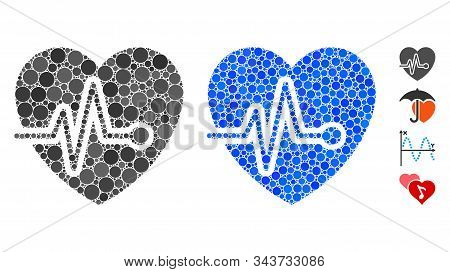 Cardio Pulse Composition Of Round Dots In Various Sizes And Shades, Based On Cardio Pulse Icon. Vect