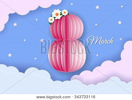 Card for womens day on March 8. Abstract background with text and flowers Vector illustration. Paper cut and craft style. 8 March, International Women's Day, Happy Mother's Day. Paper cut style banner with flower, butterfly. Pattern, background of spring