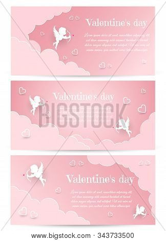 Valentine's day, Valentine's Day background, Valentine's day banners, Valentines Day flyer, Valentine's Day design, Valentines Day with Heart on black background, Copy space text area, vector illustration. Valentines Day card design set. Cupid silhouette